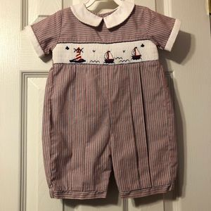 Smocked baby boys romper sailboats size 9 months
